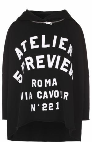 Толстовка свободного кроя с контрастной надписью и капюшоном 5PREVIEW. Цвет: черный