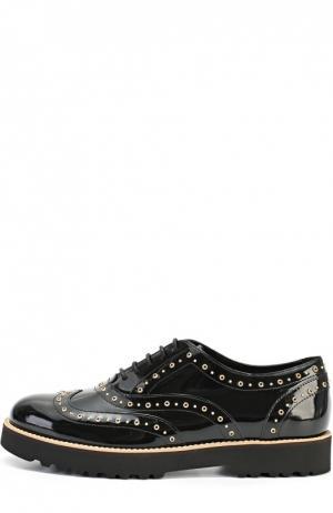 Лаковые ботинки с люверсами Hogan. Цвет: черный