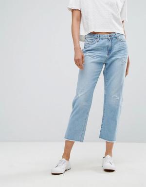 Esprit Потертые джинсы прямого кроя. Цвет: синий