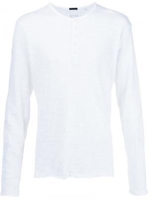 Мешковатая футболка с вырезом-хенли Atm Anthony Thomas Melillo. Цвет: белый