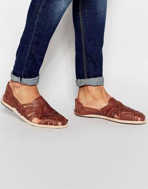 Hudson London Плетеные кожаные сандалии Matto. Цвет: рыжий