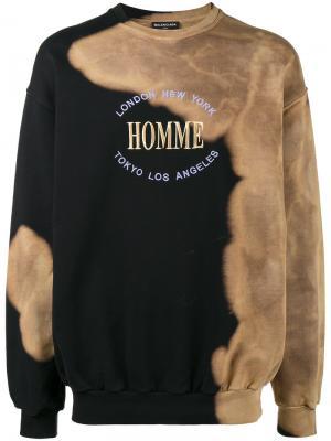 Свободная толстовка Homme Balenciaga. Цвет: чёрный