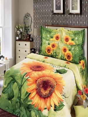 Комплект постельного белья из тк.Сатин в упаковке книжка Солнечный цветок Арт Постель. Цвет: зеленый, оранжевый