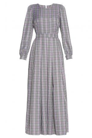 Платье из хлопка с поясом 173273 Hello Russia. Цвет: серый