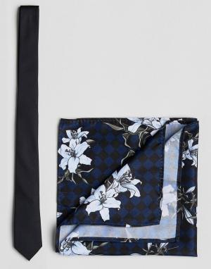 ASOS Галстук и платок для нагрудного кармана Black. Цвет: черный