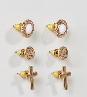 Chained & Able Набор из 3 пар золотистых серег с камнями - Золотой 6595490