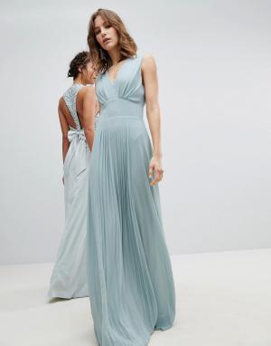 TFNC Платье макси без рукавов с плиссировкой на юбке. Цвет: зеленый