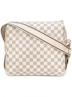 Сумка на плечо в клетку с монограммой Louis Vuitton Vintage. Цвет: белый