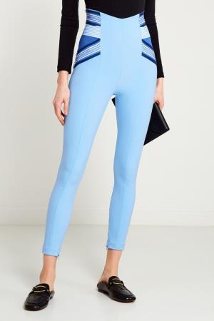 Голубые брюки на высокой посадке Elisabetta Franchi. Цвет: голубой