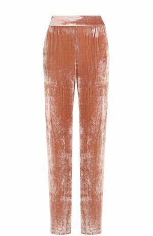 Бархатные брюки прямого кроя с эластичным поясом Alice + Olivia. Цвет: светло-розовый