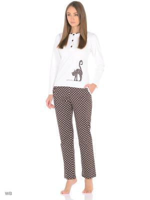 Комплект домашней одежды ( кофта, брюки) HomeLike. Цвет: коричневый, молочный