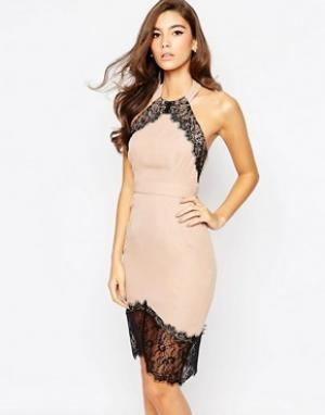 Elise Ryan Облегающее платье с асимметричной кромкой. Цвет: коричневый