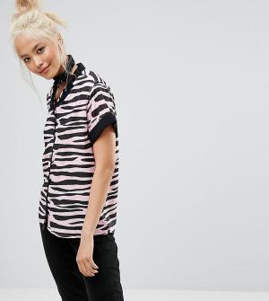 Lazy Oaf Рубашка с принтом зебра. Цвет: розовый