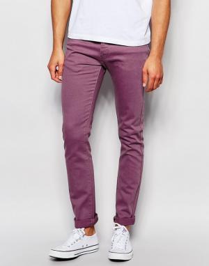 LDN DNM Выбеленные бордовые супероблегающие джинсы. Цвет: коричневый