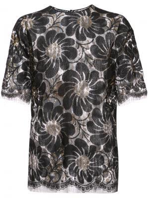 Прозрачная блузка с вышивкой Rochas. Цвет: чёрный