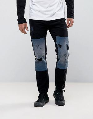 ASOS Черные узкие вельветовые джинсы с рваной отделкой и накладками. Цвет: черный