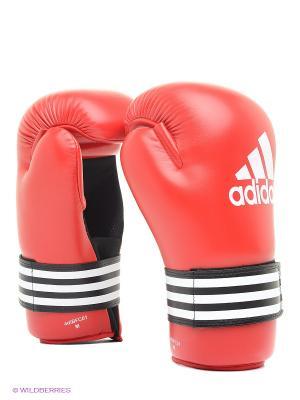 Перчатки полуконтакт Adidas. Цвет: красный