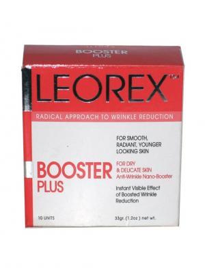 Гипоаллергенная нано-маска для экспресс-разглаживания морщин 50+ Booster Plus, 3,3 мл х 10 шт. Leorex. Цвет: белый