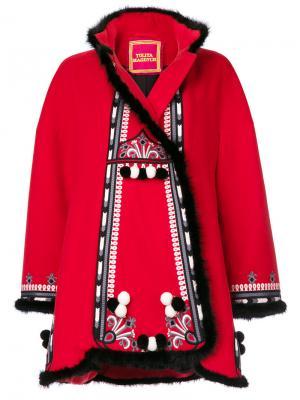 Пальто с вышивкой Hutsil Yuliya Magdych. Цвет: красный
