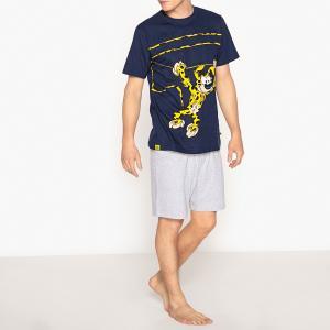 Пижама с шортами из хлопка рисунком Marsupilami. Цвет: темно-синий + серый меланж
