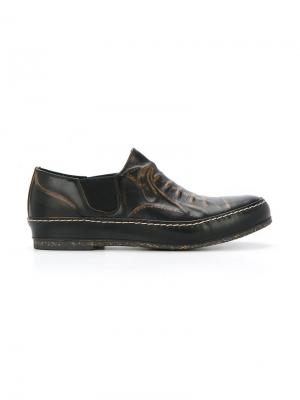 Туфли с эффектом тромплей Maison Mihara Yasuhiro. Цвет: коричневый