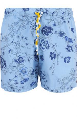 Плавки-шорты с принтом 120% Lino. Цвет: синий