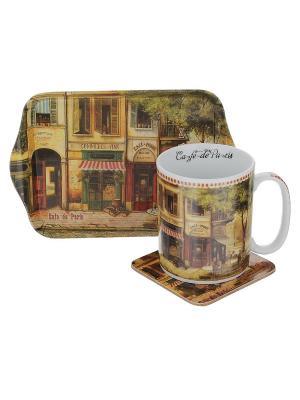 Набор Парижское кафе GiftLand. Цвет: коричневый, голубой, светло-коричневый, красный, черный, зеленый