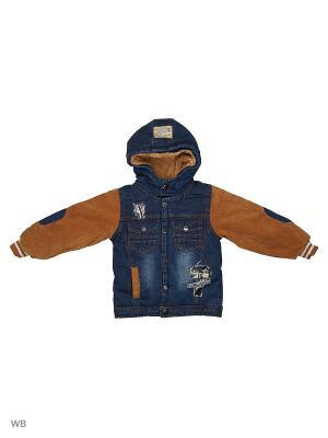 Джинсовая куртка на синтепоне Kidly. Цвет: бежевый, синий