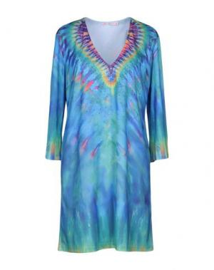 Короткое платье AGOGOA. Цвет: лазурный