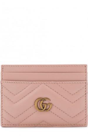 Кожаный футляр для кредитных карт GG Marmont Gucci. Цвет: розовый