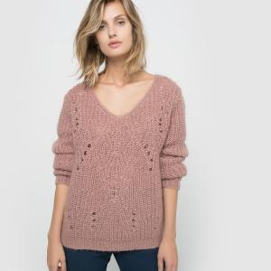 Пуловер с V-образным воротником La Redoute Collections. Цвет: слоновая кость,темно-розовый