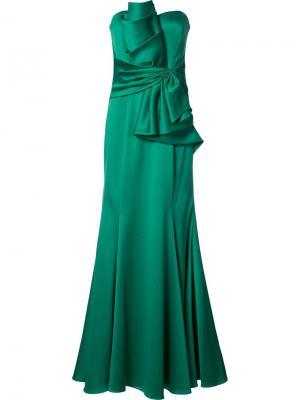 Вечернее платье с оборками без бретелек Badgley Mischka. Цвет: зелёный