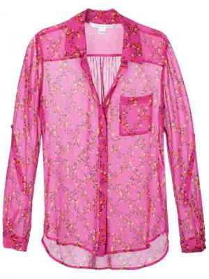 Рубашка с цветочным принтом Diane Von Furstenberg. Цвет: розовый и фиолетовый