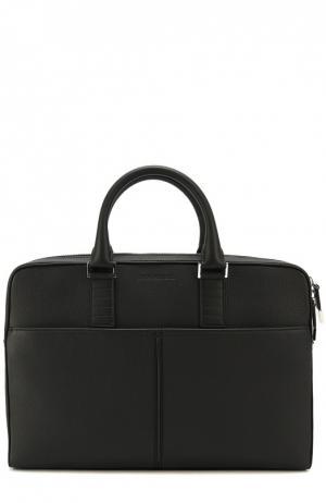 Кожаная сумка для ноутбука с плечевым ремнем Dior. Цвет: черный