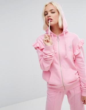 Lazy Oaf Оверсайз-худи с оборками. Цвет: розовый