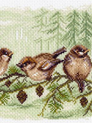 Рисунок на канве Воробьи Матренин Посад. Цвет: коричневый
