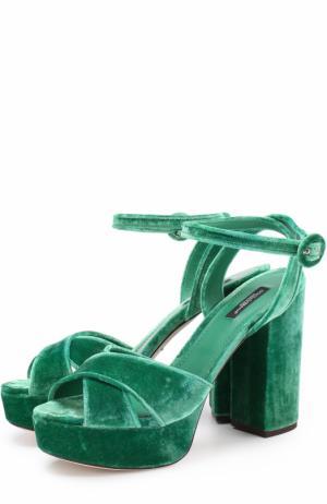Бархатные босоножки на устойчивом каблуке Dolce & Gabbana. Цвет: зеленый