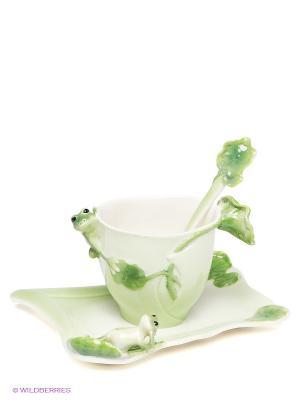 Чайная пара Лягушки Pavone. Цвет: зеленый, салатовый, белый