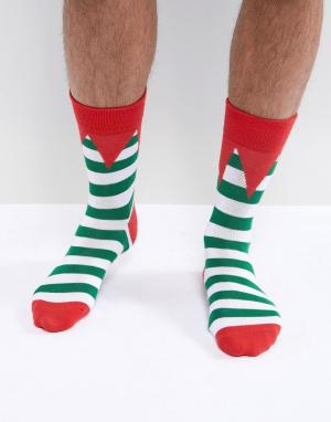 SSDD Рождественские носки с эльфийским дизайном. Цвет: зеленый