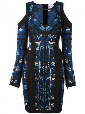Облегающее платье с вырезными деталями Hervé Léger. Цвет: синий