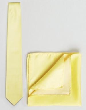 ASOS Галстук и платок для пиджака WEDDING. Цвет: желтый