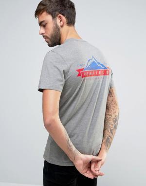 Penfield Эксклюзивная серая меланжевая футболка с принтом горы и логотипом на. Цвет: серый