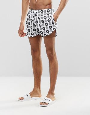 Abuze London Короткие шорты для плавания с черно-белым принтом. Цвет: белый