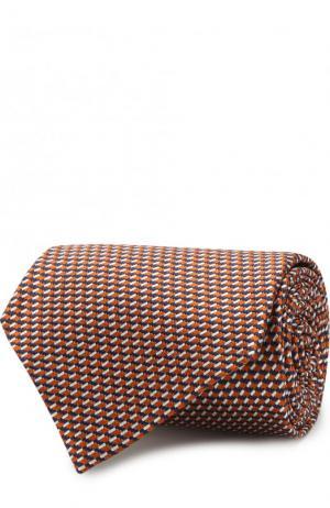 Шелковый галстук с узором Z Zegna. Цвет: оранжевый