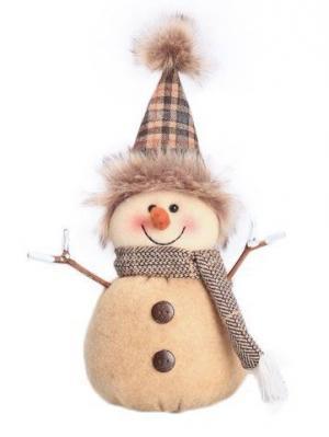 Кукла Снеговик-весельчак 22 см, беж. Новогодняя сказка. Цвет: бежевый, белый