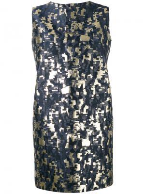 Жаккардовое платье без рукавов Gianluca Capannolo. Цвет: синий