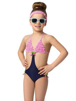 Слитный купальник Arina. Цвет: темно-синий