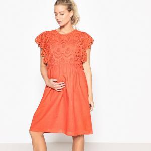 Платье для периода беременности с вышивкой спереди La Redoute Collections. Цвет: белый,розовый