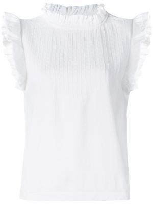Топ с декоративной строчкой на груди Cecilie Copenhagen. Цвет: белый