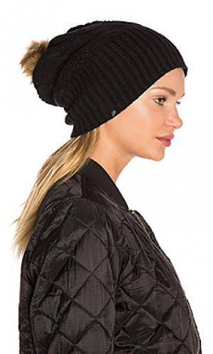 Шапочка с флисовой подкладкой и помпоном из искусственного меха Plush. Цвет: черный